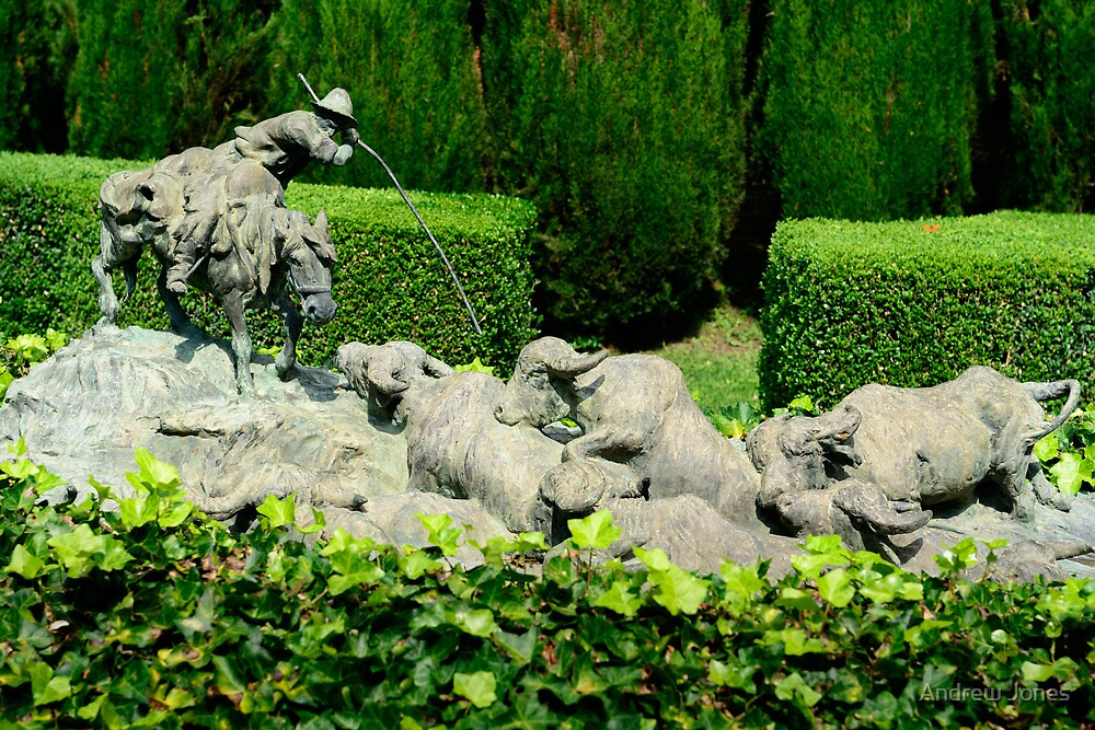 Herdsman sculpture, La Foce, Tuscany, Italy by Andrew Jones