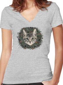 meadow god lion cat Women's Fitted V-Neck T-Shirt