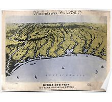 Civil War Maps 1234 Panorama of the seat of war bird's eye view of Texas and part of Mexico Poster