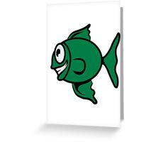 funny happy fish Greeting Card
