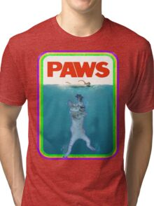 Jaws (PAWS) Movie parody T Shirt Tri-blend T-Shirt