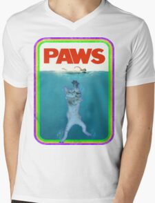 Jaws (PAWS) Movie parody T Shirt Mens V-Neck T-Shirt