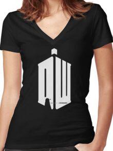 Dalek (exterminate/white) Women's Fitted V-Neck T-Shirt