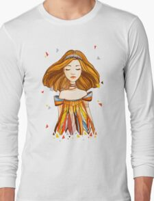 Girl in feather dress Long Sleeve T-Shirt