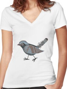 """Wacky Bird""  Blues Brown Blk Women's Fitted V-Neck T-Shirt"