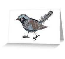 """Wacky Bird""  Blues Brown Blk Greeting Card"