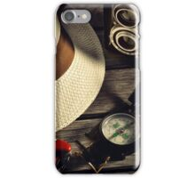 retro camera and Panama hat iPhone Case/Skin