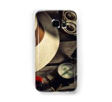 retro camera and Panama hat Samsung Galaxy Case/Skin
