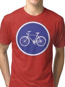 Cyclist Warning Sign v2 Tri-blend T-Shirt