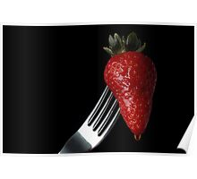 Strawberry on fork Poster