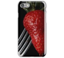 Strawberry on fork iPhone Case/Skin