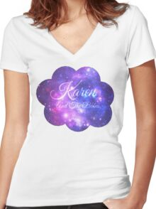 Karen and The Babes (Starry Font) Women's Fitted V-Neck T-Shirt