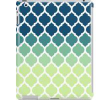 Moroccan Tile Pattern In Blue Green Ombre iPad Case/Skin