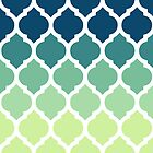 Moroccan Tile Pattern In Blue Green Ombre by cikedo