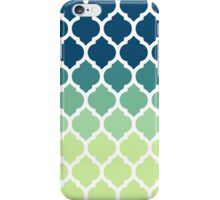 Moroccan Tile Pattern In Blue Green Ombre iPhone Case/Skin