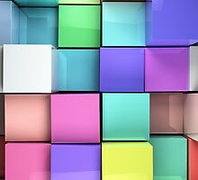 3d colored cubes background by carloscastilla