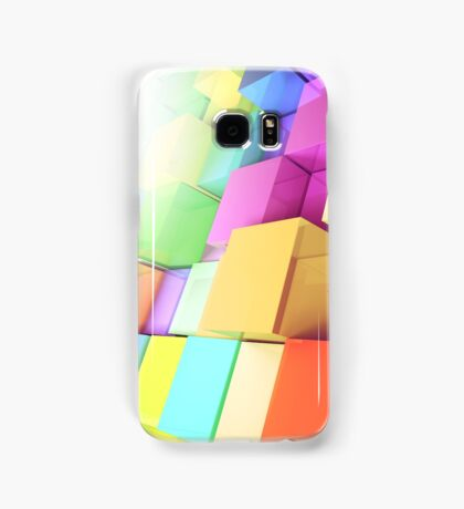 3d colored cubes background Samsung Galaxy Case/Skin