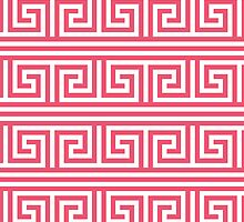 Greek Key Pattern in Pink and White by cikedo