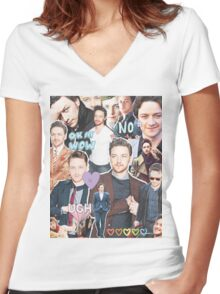james mcavoy collage Women's Fitted V-Neck T-Shirt
