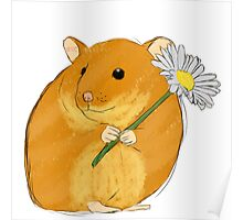Hamster holding a flower Poster