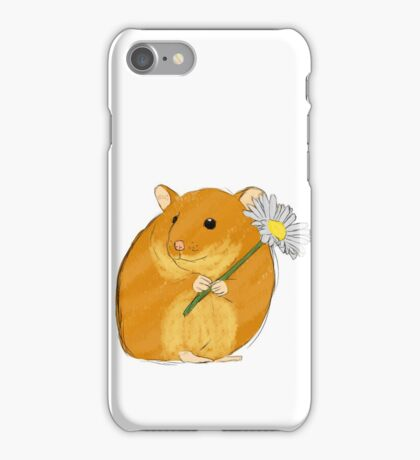 Hamster holding a flower iPhone Case/Skin