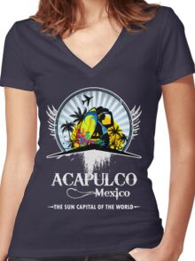 Acapulco Beach Mexico Women's Fitted V-Neck T-Shirt