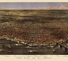 Antique Map of Saint Louis, Missouri by Currier and Ives from 1874 by bluemonocle
