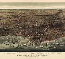 Antique Map of Chicago, Illinois by Currier and Ives from 1892 by bluemonocle