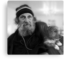 Geoffrey the blind motorcyclist and dog.. Metal Print