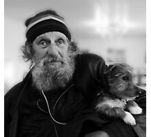 Geoffrey the blind motorcyclist and dog.. Photographic Print