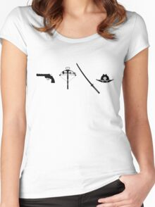 Gun, Crossbow, Sword and Hat Women's Fitted Scoop T-Shirt