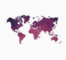 World Map Sticker One Piece - Short Sleeve