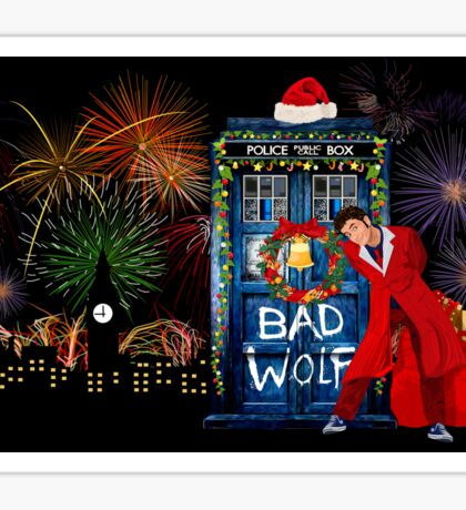Happy New year from 10th Doctor Sticker