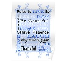 Rules to Live By - Blue Poster