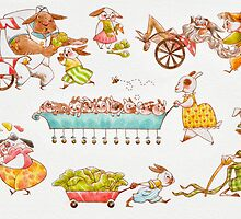 Bustling Bunnies Greeting Card by Hannah Joe