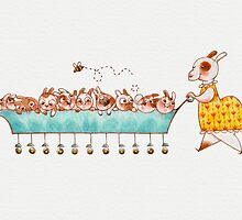 Mother Rabbit Greeting Card by Hannah Joe