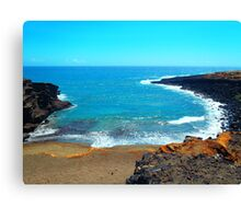 Green Sands Beach Hawaii scenic print Canvas Print