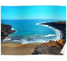 Green Sands Beach Hawaii scenic print Poster
