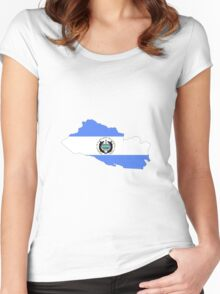 El Salvador Flag Map Women's Fitted Scoop T-Shirt