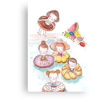 Donut Pool Party Canvas Print