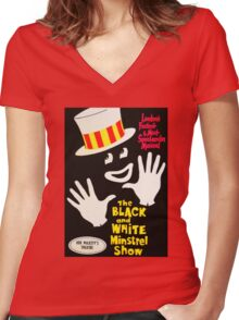 Black and White Minstrel show Women's Fitted V-Neck T-Shirt