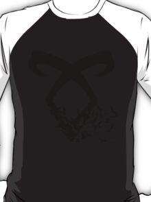 Black Angelic Rune (Birds)  T-Shirt