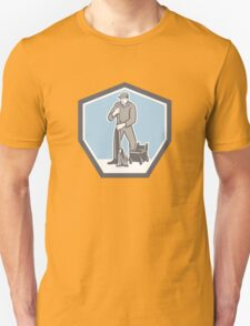 Cleaner Janitor Mopping Floor Retro Shield T-Shirt