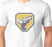 Construction Steel Worker Carrying I-Beam Retro Unisex T-Shirt