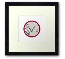 Lady Blindfolded Holding Scales Justice Circle Framed Print