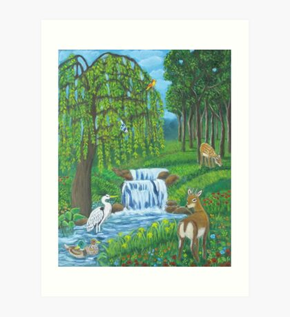 Waterfall and weeping willow. Art Print
