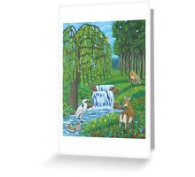 Waterfall and weeping willow. Greeting Card