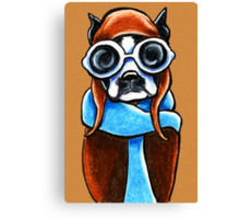 Boston Terrier Aviator Canvas Print