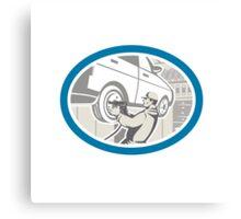 Mechanic Changing Car Tire Repair Retro Canvas Print
