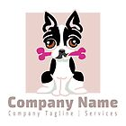 Mod Boston Terrier Bone Squared/Purple Pre-Made Logo by offleashart
